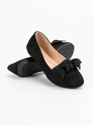 deafdd2a1358 Čierne balerínky s mašľou J01-B