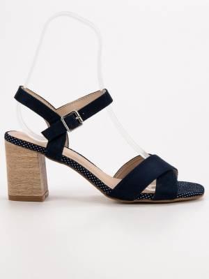 c4f8e013e618 Čierne sandále na hrubom opätku YQE19-17020BL