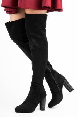 29979968a6b4 Čierne semišové čižmy nad kolená AE35B