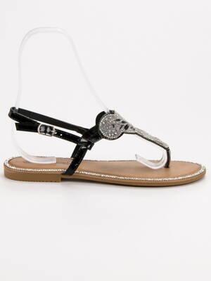 f55d36bf820d Čierne sandále s kamienkami COMFORT BY0007B
