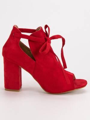 0e8b7af561acd Červené členkové sandále na opätku YQE19-1751R