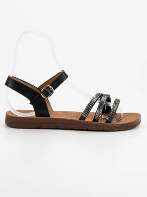 dde70852bf74 Nízke čierne sandále s kamienkami 6379B