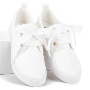 Biele štýlové tenisky so stužkou 3b8081809dc