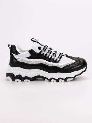 4106bb47b4 Bielo čierne botasky s brokátom BOK-1192B