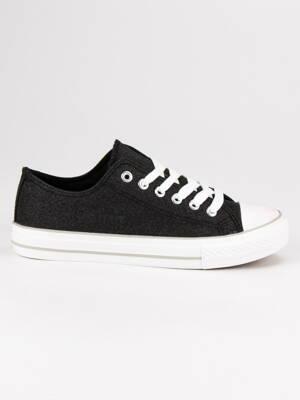 Čierne plátené tenisky s brokátom RAL-30B 67d795fe820