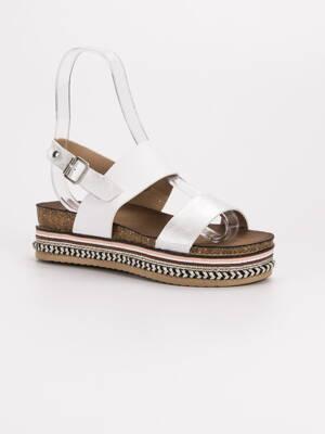 f5e190492e32 Biele sandále na platforme AK26W