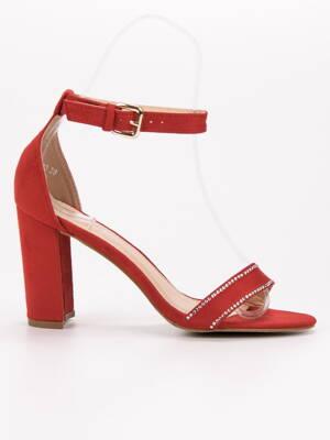 051d321aca Červené sandále s kamienkami A8020R