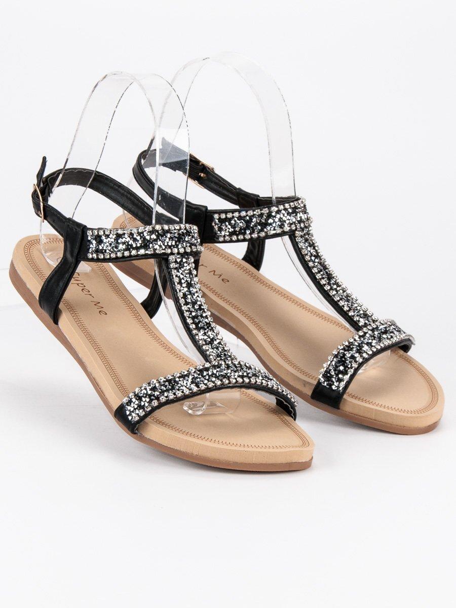 8f821357b5a2 Elegantné nízke sandále s kamienkami