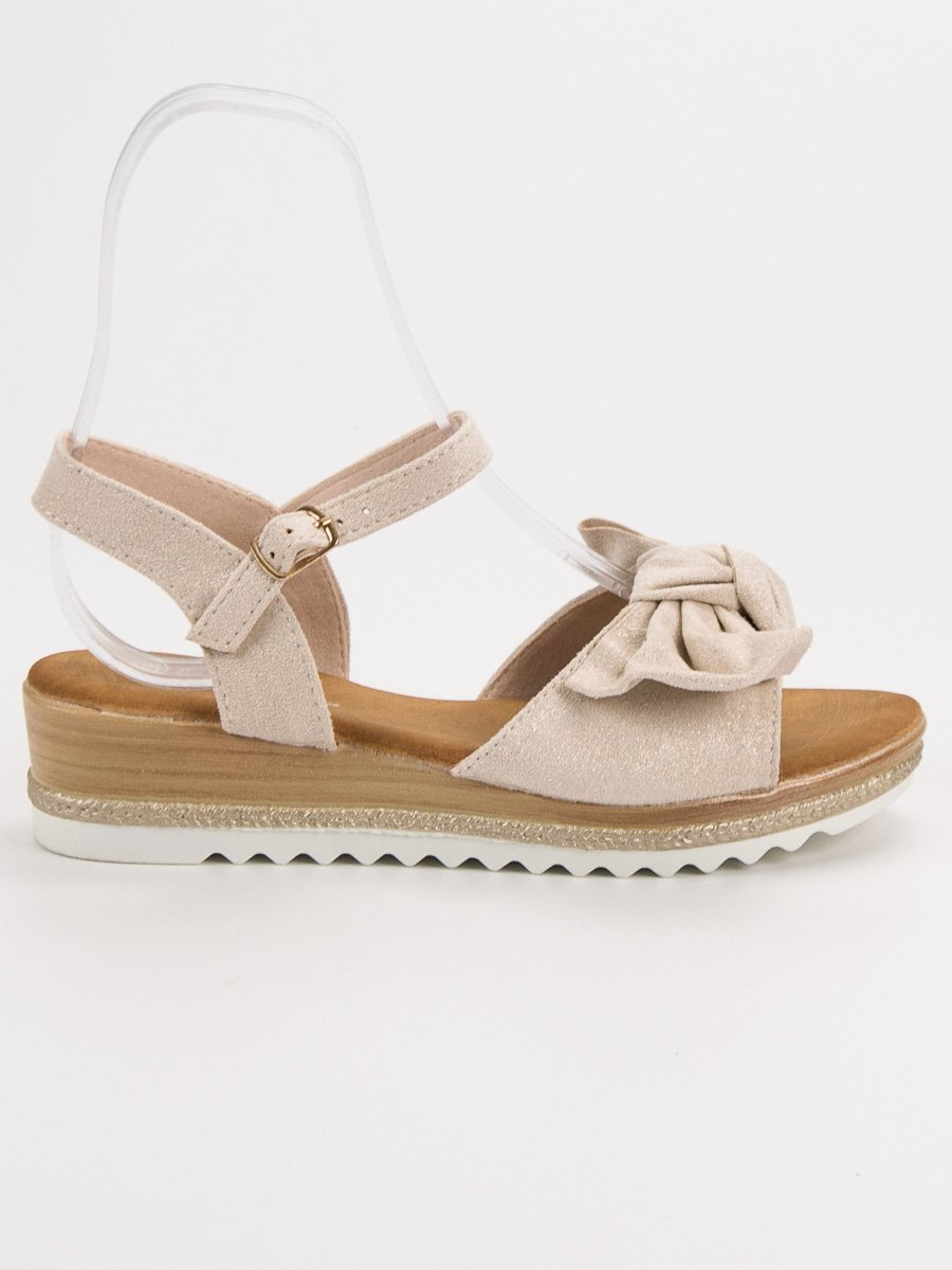 38ec6370ff76 Béžové sandále s mašľou S73BE