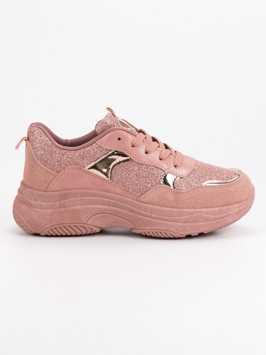 Dámske ružové botasky na platforme B318-18P 02701f6b9b9