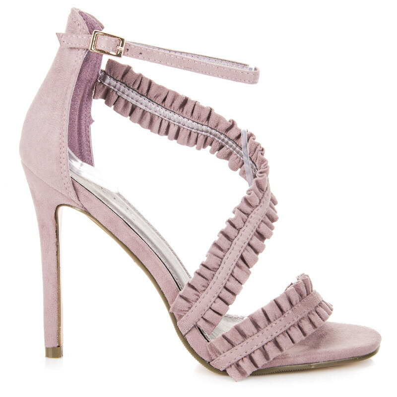 90db8a77c6f4 Fialové sandále na opätku