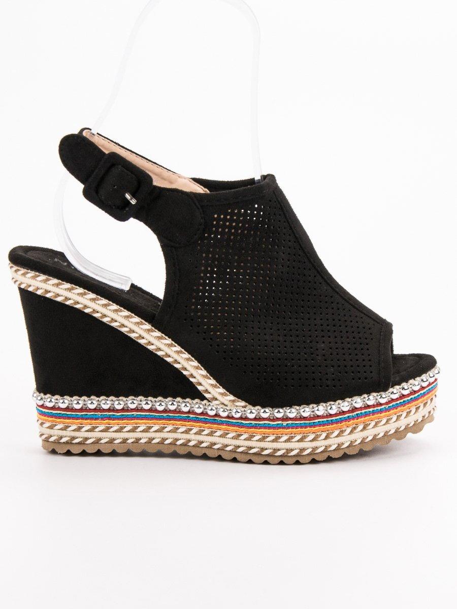 683f93a198 Čierne vysoké sandále na platforme 3205B