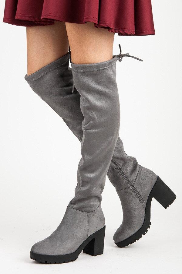 540f5cd60faa Sivé semišové čižmy nad kolená 1354-5G