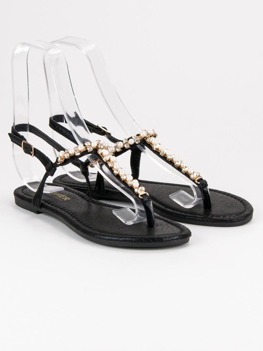 c10b8199e4e1 Čierne sandále s kamienkami ALS031B