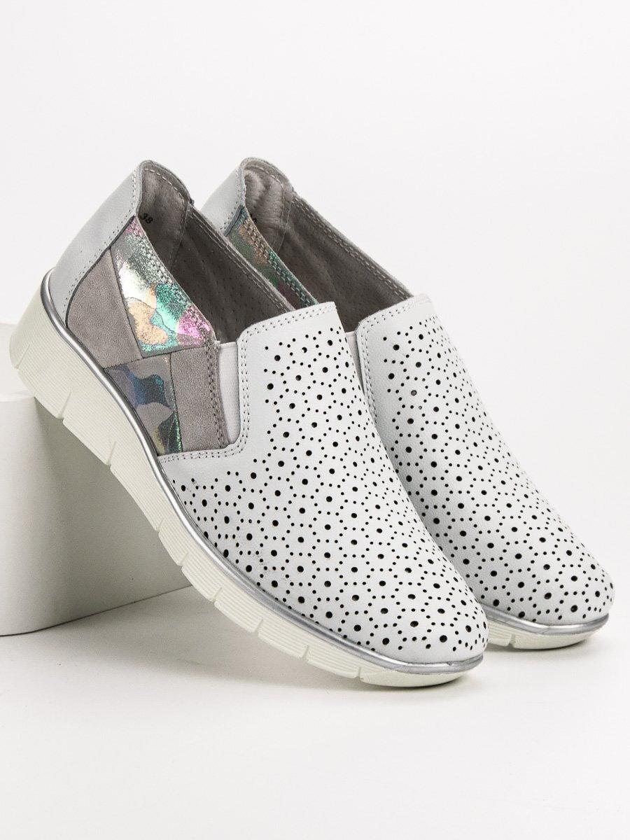 bff60d22cd16 Biele topánky slip on DP200 18W