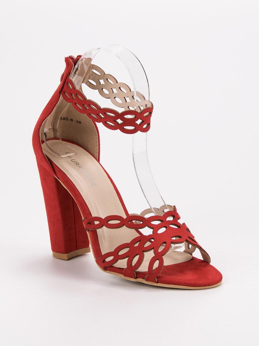 5b0fd497434f Červené sandále na širokom opätku 3385-6R