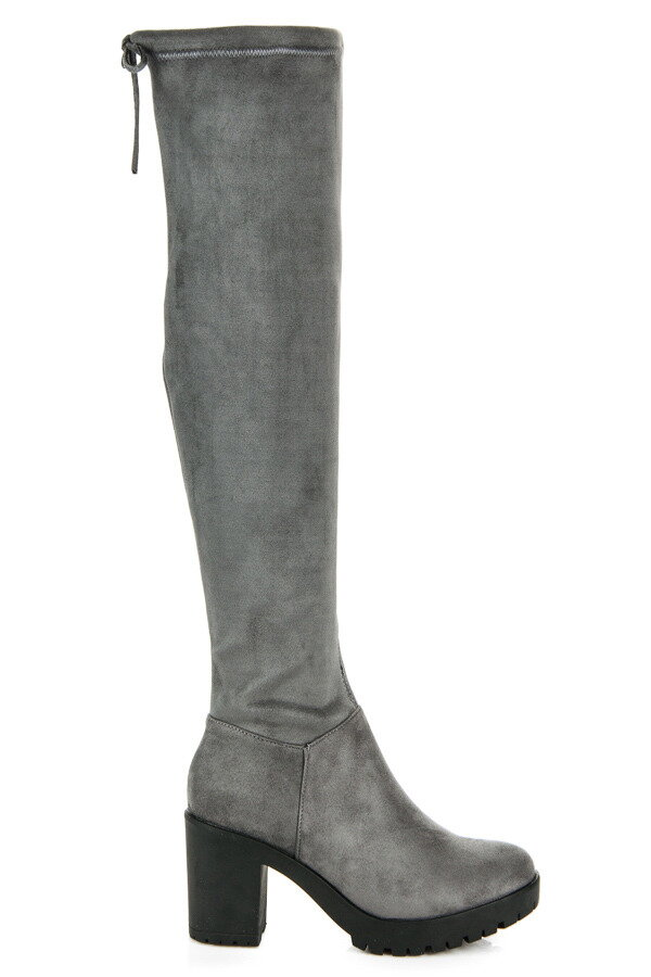 e395362ed053 Tm. sivé semišové čižmy nad kolená 1354-6D.G