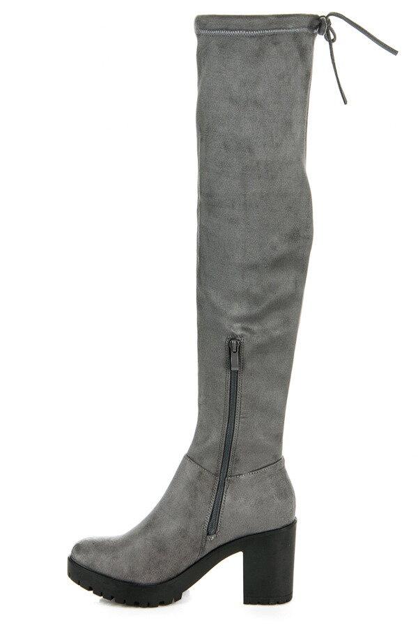 9f28a282e3c1 Tm. sivé semišové čižmy nad kolená 1354-6D.G