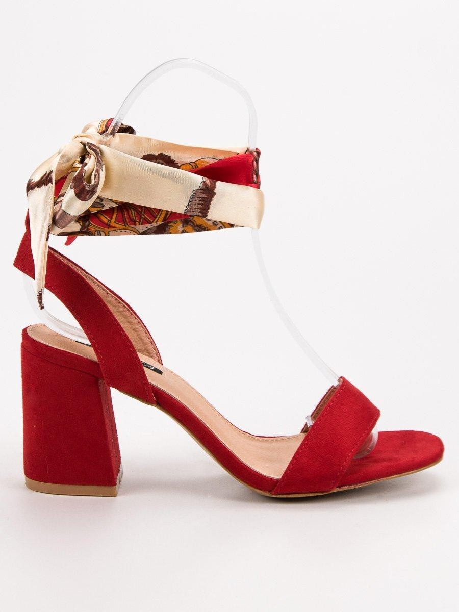f2a729a082846 Červené šnurovacie sandále