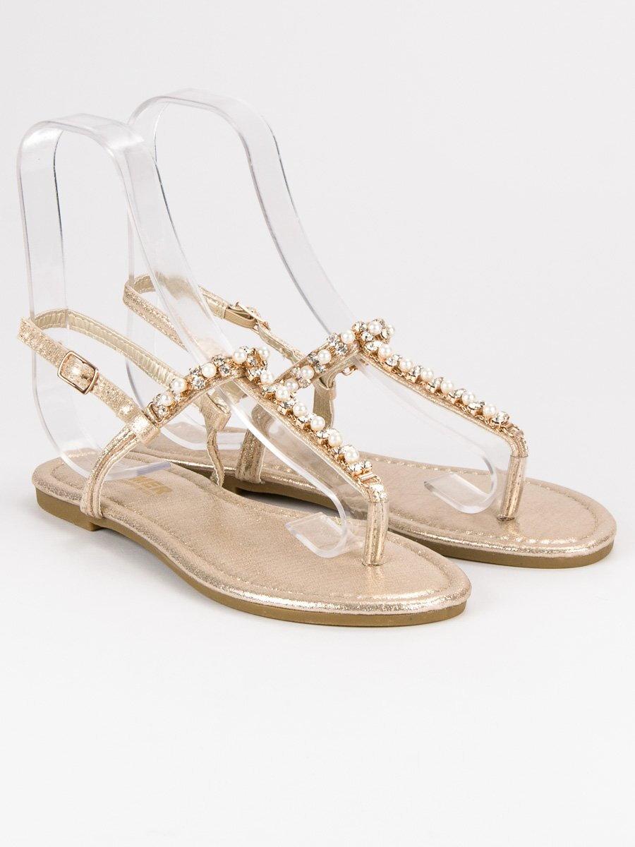 4e10bac06abe Zlaté sandále s kamienkami ALS031GO