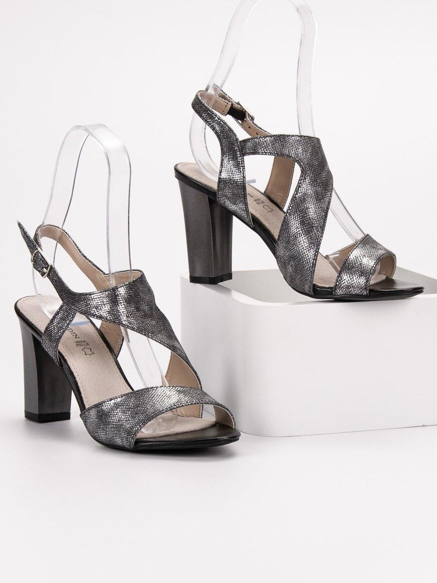 22b5a9a7a4bb Strieborné sandále na opätku GD-FL141B. PrevNext