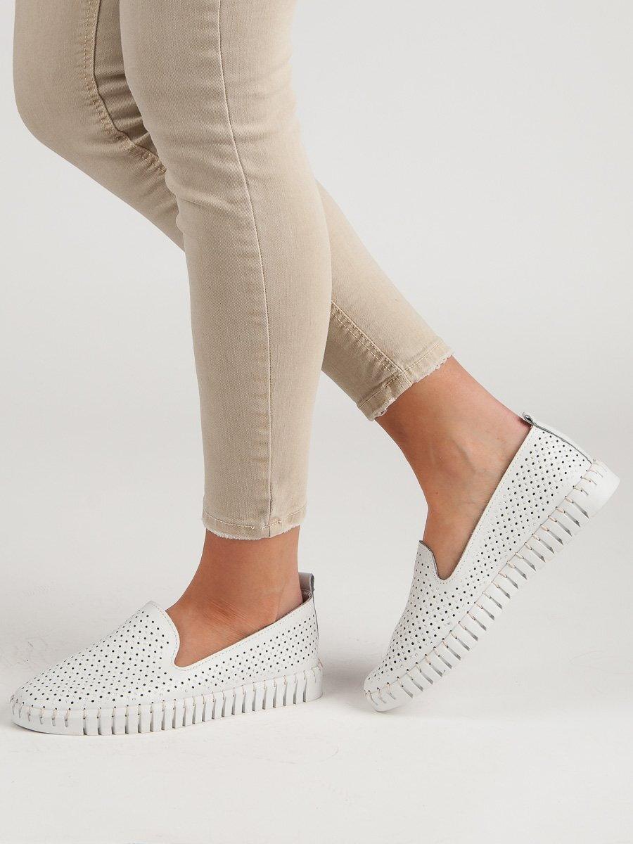 95147ec6c Biele kožené topánky dámske DP638/19W