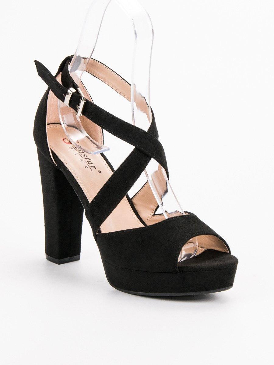 090c4b83e6e3 Čierne sandále na platforme KK13B