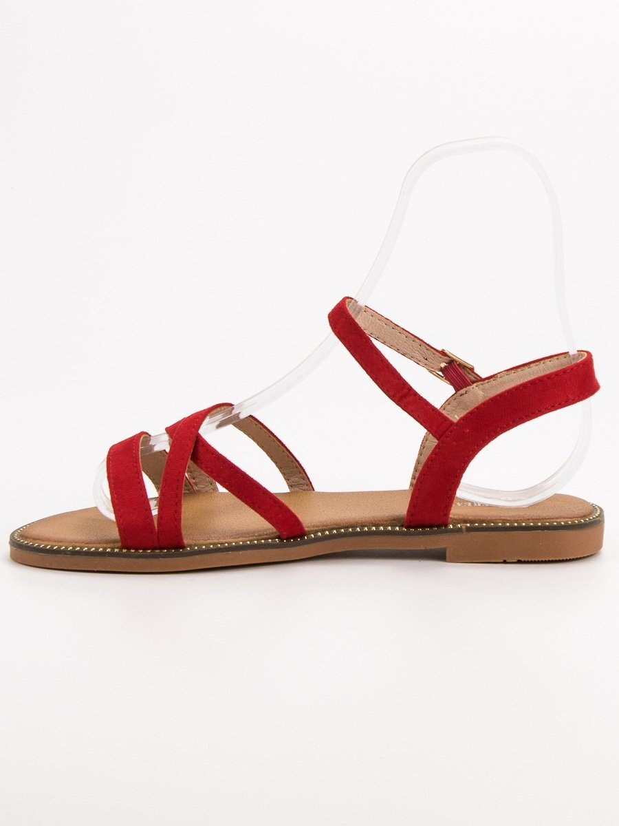b266ecfa21b49 Dámske červené sandále CREATION S55R