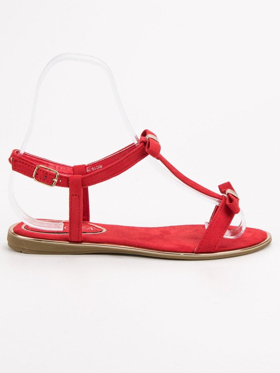 ee058c0ed895b Nízke červené sandále bez opätku RIC19-19105R