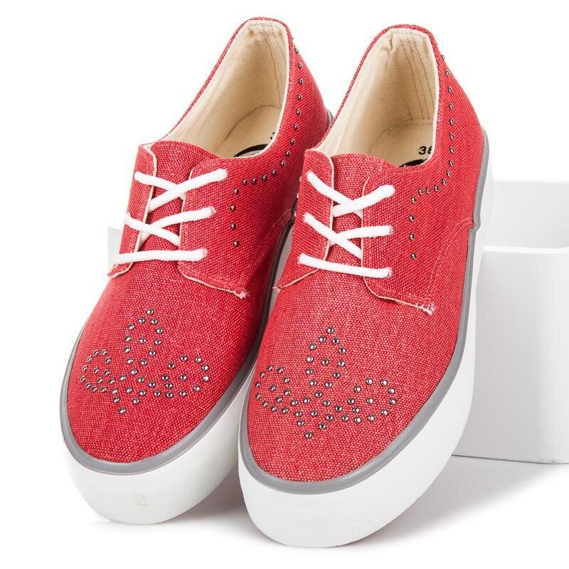 6e74230ec7b9 Červené tenisky s kamienkami K1832001RO
