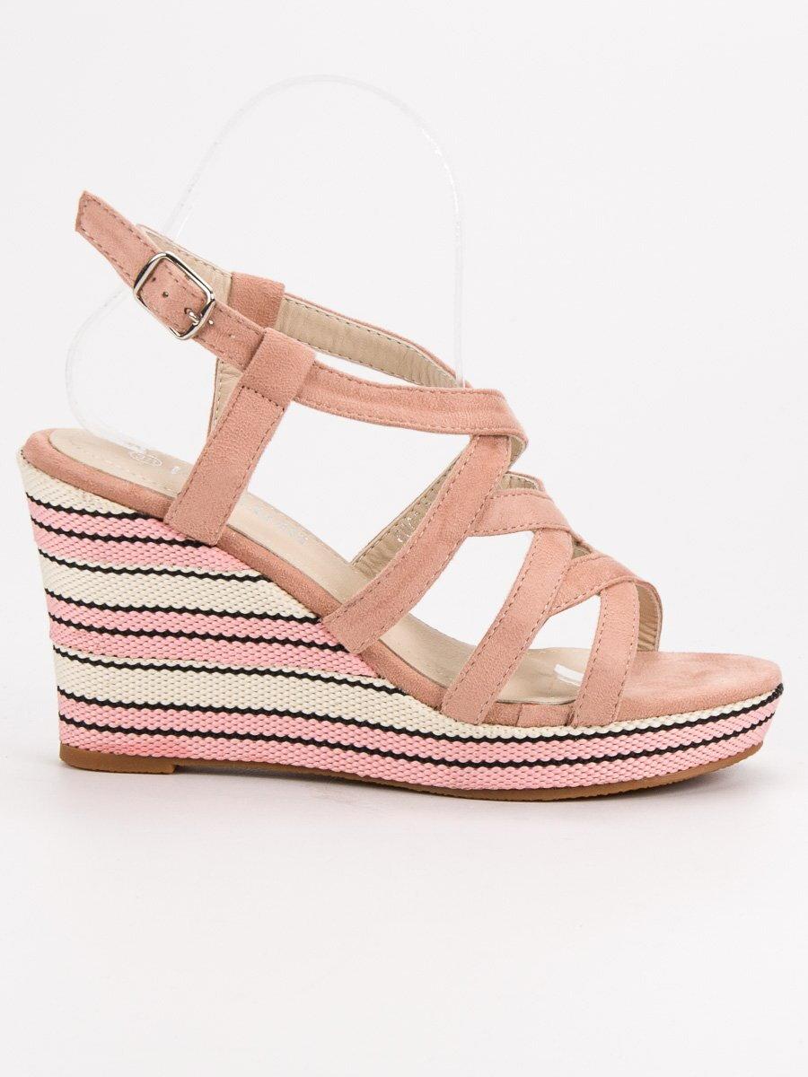 d613827a88207 Ružové sandále na platforme KERLINE 8809P