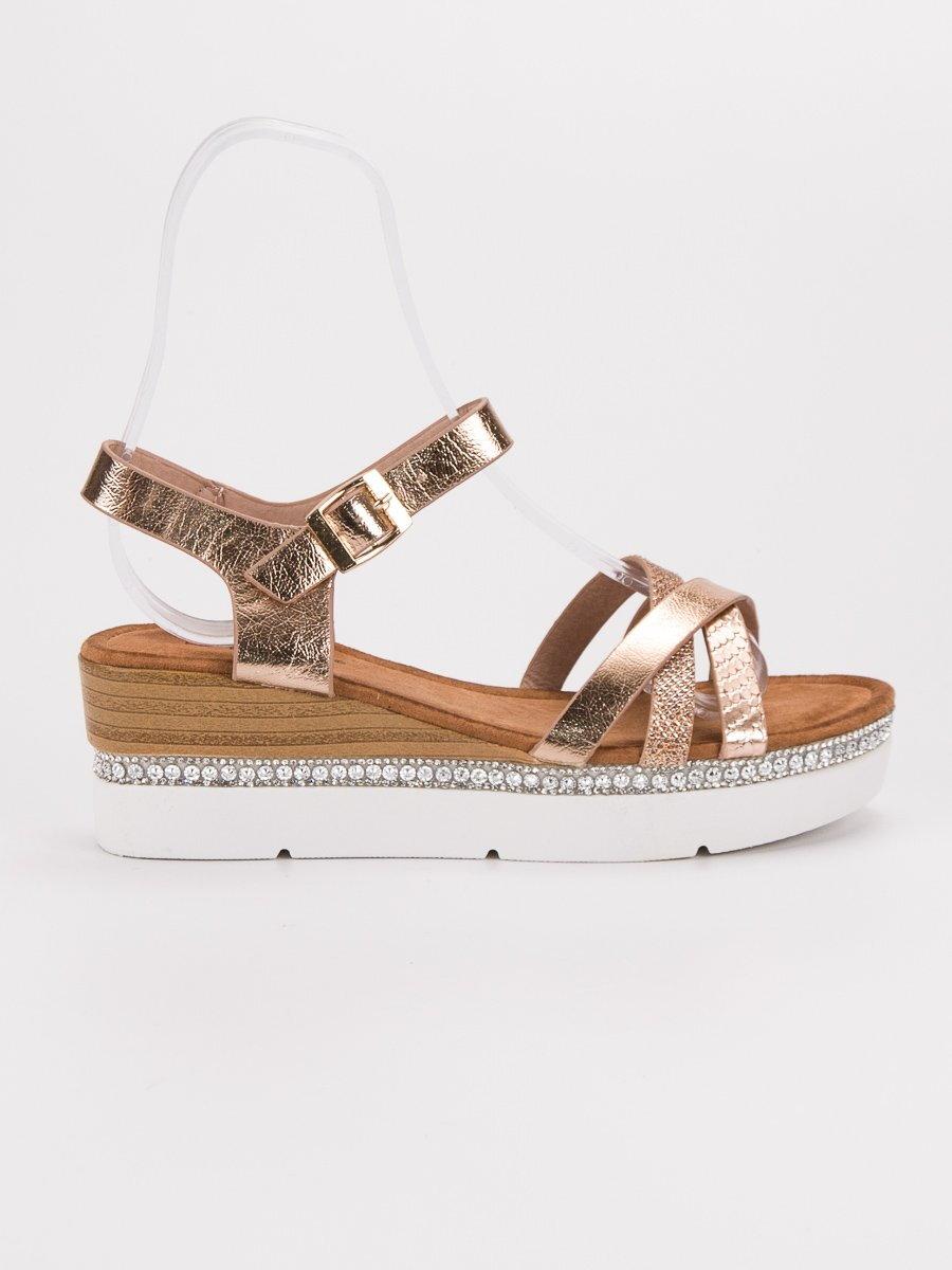 b8abb08a7b45 Medené sandále s kamienkami GG-64CH