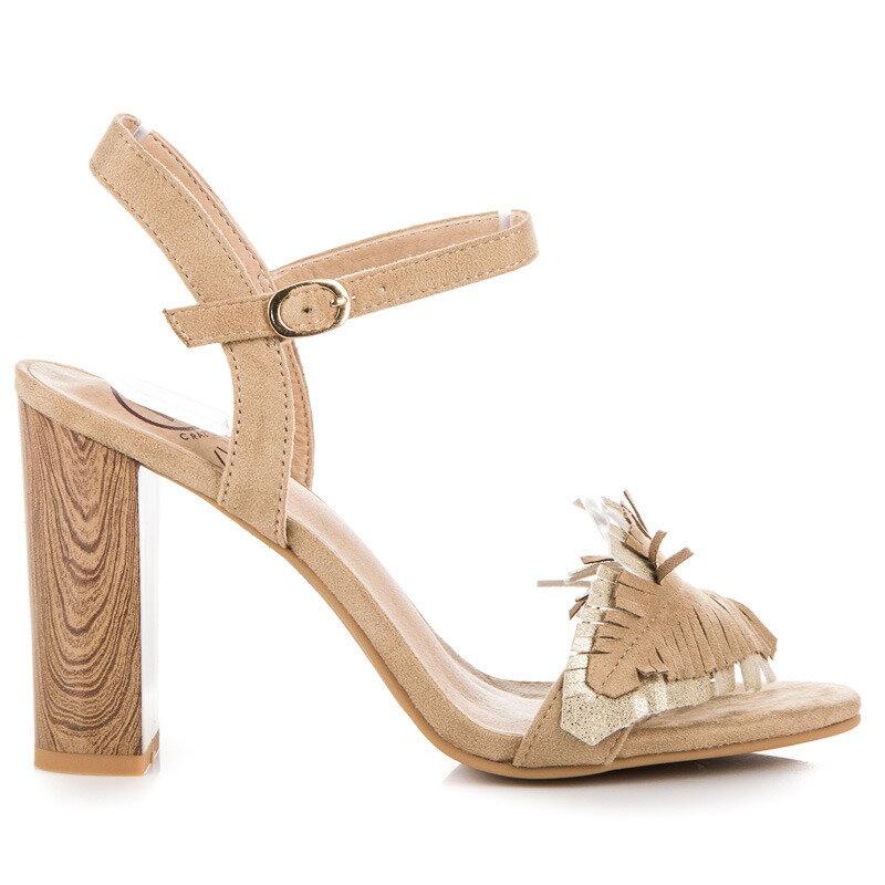 ca3ac96a0e Béžové sandále na hrubom opätku K1804401BE