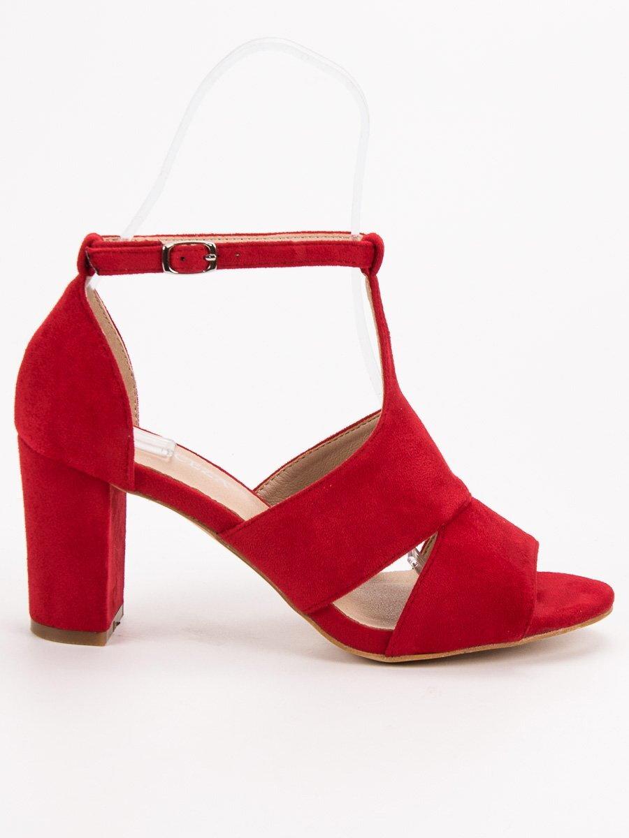 e7371fc743492 Dámske červené sandále na opätku YQE19-17008R