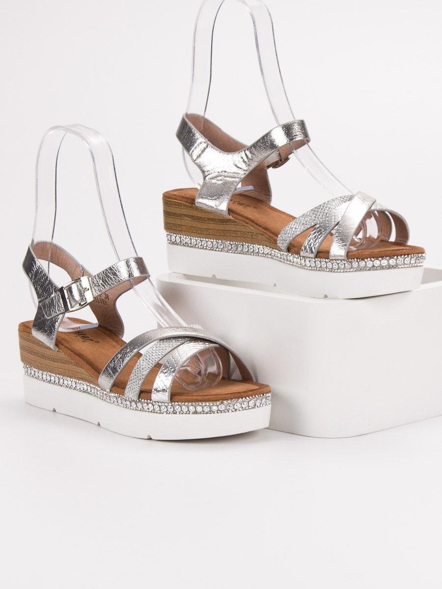 cd0922e35d45 Strieborné sandále s kamienkami GG-64S. PrevNext