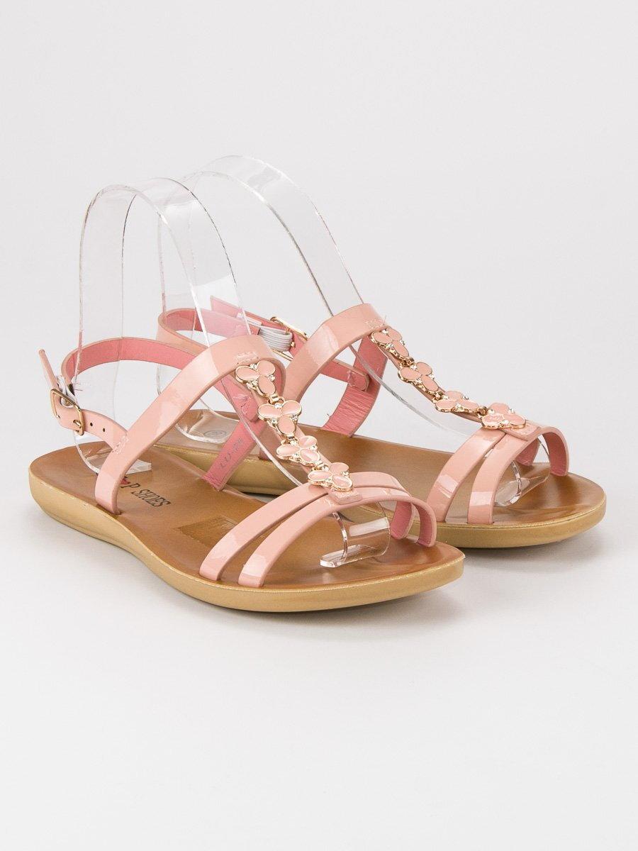 b09814fa07e Ružové lakované sandále LUIS LU25P
