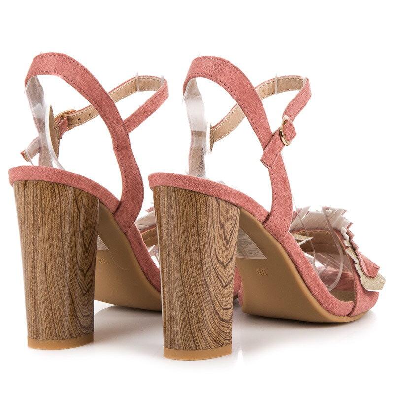 ccc08bd94e70 Ružové sandále na hrubom opätku K1804401RO