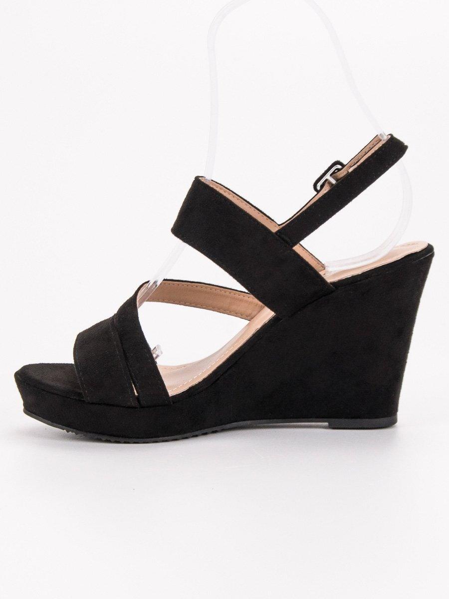 824be95061 Čierne sandále na klinovom opätku BL-3B