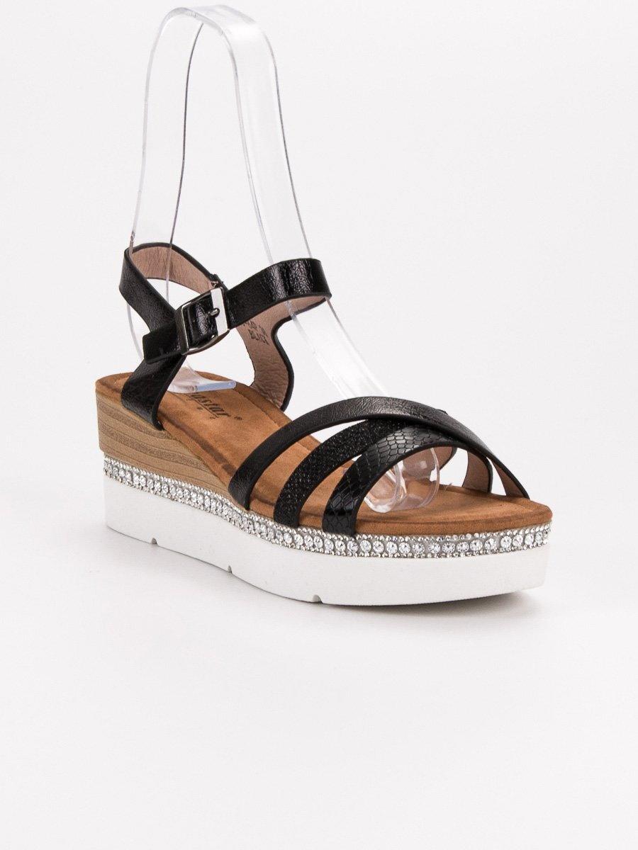790e75e02561 Čierne sandále s kamienkami GG-64B. PrevNext