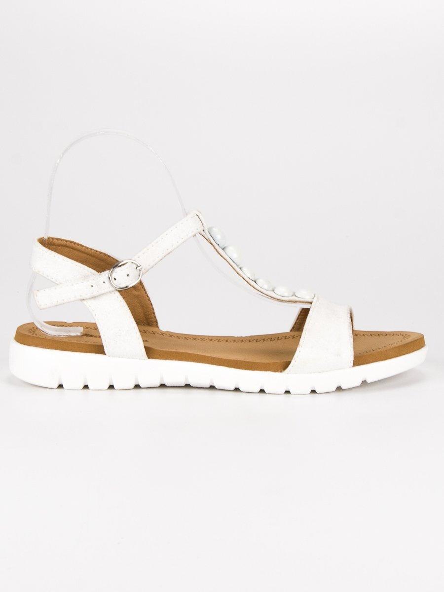 9e131f0cc7111 Biele sandále bez opätku