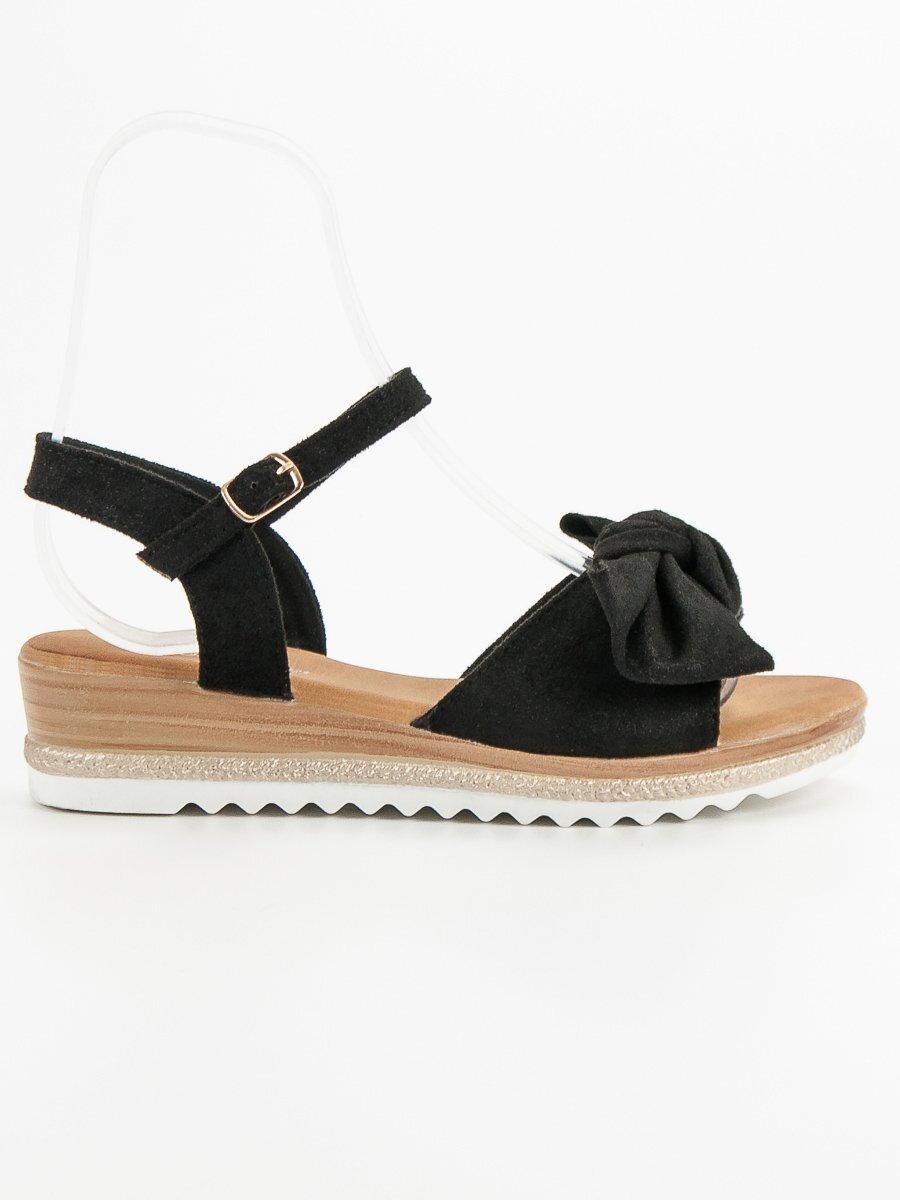c37129ff163a Čierne sandále s mašľou S73B