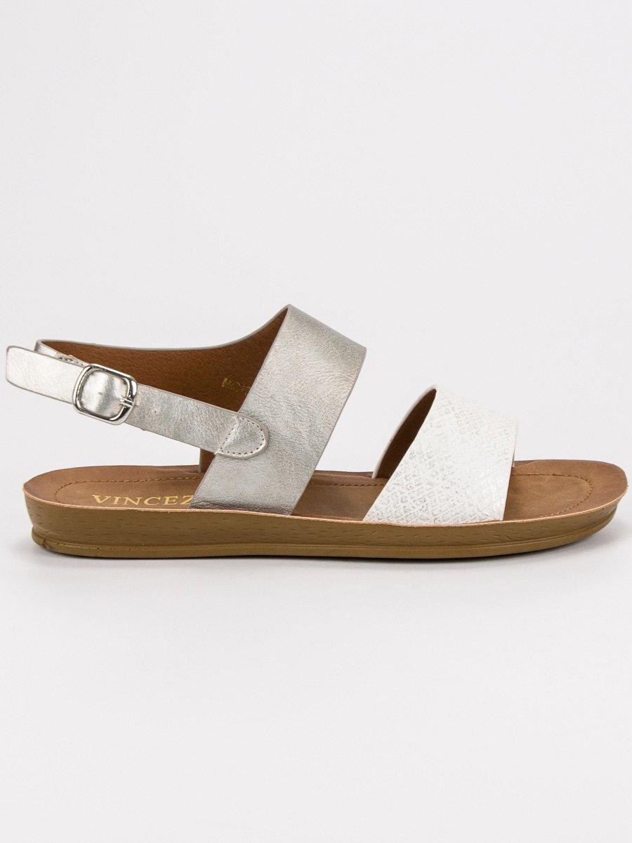 667ec9830d6e Pohodlné strieborné sandále bez opätku MIS19-19003W