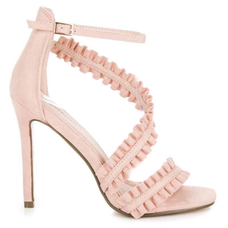 4bdedf157b49 Béžové sandále na opätku