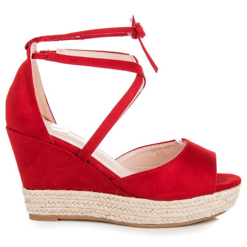 7d2e42ad6b3d Vysoké červené sandále ESPADRILLE